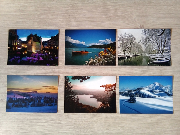 6 cartes postales exclusives autour de la ville d'Annecy durant les 4 saisons par Sébastien TORCHIO, www.Annecy.Photo